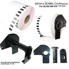 5 X hermano compatible Dk22205 Impresora Etiquetas 62mm X30.48 M Continuo Roll + Carrete