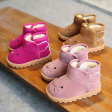 Winter Kids Girls Snow Fur Baby Shoes Cute Toddler Warm Boots Size4.5-11