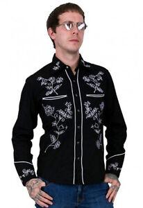 Relco Western Cowboy Black White Long Sleeved Rockabilly Line Dancing Shirt