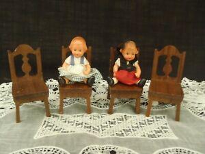 Vintage StromBecker Playthings Genuine Walnut 4 Chairs Handcrafted Wood