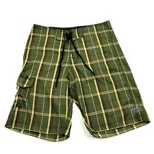NEW Billabong Board Shorts Mens Size 34 Waist Green Plaid Cargo Pocket Sewn Logo