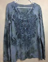 Embellished Floral Tunic Top Polyester Rayon Blend V Neck Long Sleeve Size L