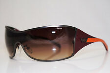 POLICE Mens Designer Sunglasses Maroon Shield S8826 COL 627X 13936