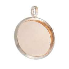 10 pcs. Rose Gold Plated Circle Round Bezel Cabochon Pendant Tags Trays - 12mm