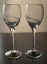 """CINDERELLA EISCH CRYSTAL Liqueur Cordial 5 1/2"""", SET of TWO, Frosted Swirl, NOS"""