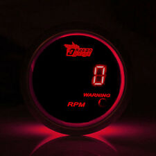 """2"""" 52mm Car Motor Digital Red LED Tacho Tachometer LED Gauge Meter Black Shell"""