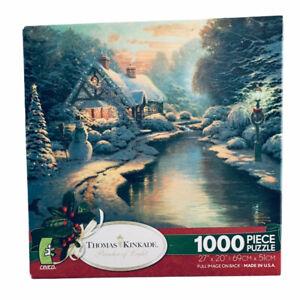 Thomas Kinkade Jigsaw Puzzle Christmas Evening Holiday 1000 Piece Brand New