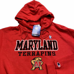 NWT Maryland Terrapins Champion Hoodie Sweatshirt 2XL Red NCAA College Mens