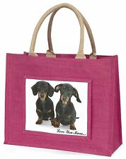 Dachshund Dogs 'Love You Mum' Large Pink Shopping Bag Christmas Pr, AD-DU2lymBLP