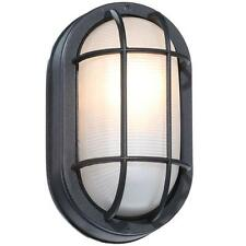 Black Outdoor Oval Bulkhead Porch Patio Wall Light Fixture Lighting Lamp