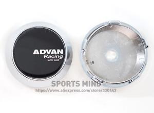 4x60mm Advan Racing Emblems Wheel Caps Hubcaps Rim Caps Badges Black Silver