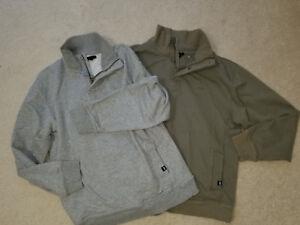 GAP Kids Lot of 2 Sweatshirts 1/4 Zip Gray & Khaki Kids Sz.XXL (Womens Small)