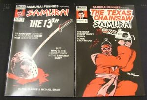 SAMURAI FUNNIES 1 2 SOLSON COMIC SET COMPLETE FRIDAY THE 13TH CHAINSAW 1986 FN