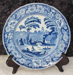 "Staffordshire Blue Transferware Wild Rose 6 5/8"" Pearlware Side Plate"