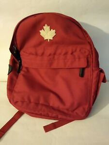 Roots Canada Backpack Adjustable Straps Zip Closure Red Maple Leaf