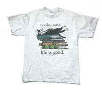 Books Cats Life Is Good Heather Gray T-Shirt Edward Gorey Illustration Men's M