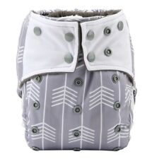 Baby Cloth Diaper Nappy Cover Bamboo Charcoal Reusable Gussets Grey Arrow