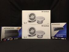 KENWOOD BOAT MARINE RADIO + 600 WATT 4 CHANEL AMP ROCKFORD FOSGATE SPEAKERS X 2
