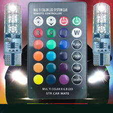 2pcs T10 W5W 5050 RGB Remote Control Car Strobe Flash Lamp Bulb wedColorful Side