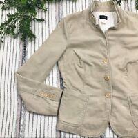 J. Crew Women's Size M Medium Beige Cotton Corduroy Three Button Blazer Jacket