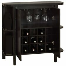 """Monarch Specialties Home Bar 36""""H Cappuccino With Bottle Glass Storage"""