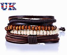 Ladies Men Multi Stacker Summer Beach Bracelet for Summer Bead Leather Cuffs UK