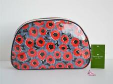 KATE SPADE Red Blue Poppy Designer Makeup Case Travel Bag Clutch Purse Pouch NWT