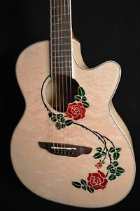 Luna Flora Rose Quilt Maple Acoustic Electric Guitar - Free Shipping!