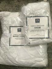 Pottery Barn Teen Simply Smocked Twin Duvet Cover Standard Sham White New