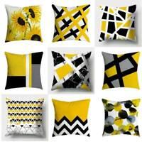 Modern Geometric Cushion Mustard Yellow and Grey Sofa Case Cover 18X18 inch