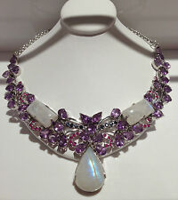 """225 CTS!! MAJESTIC GENUINE AMETHYST & BLUE FLASH MOONSTONE SILVER NECKLACE 15.5"""""""