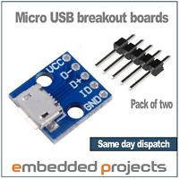 2.54mm Pitch SIP 2 x Micro USB Breakout Boards with headers DIP
