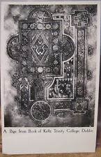 Irish RPPC PAGE FROM the BOOK OF KELLS Dublin Ireland Trinity Library Celtic Art