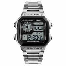 SKMEI Silver Smart Mens Digital Display Watch Metal Strap Alarm Stopwatch