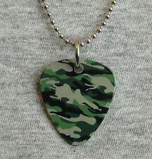Metal Guitar Pick Necklace CAMOUFLAGE camo hunting military soldier usa pendant