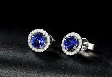 SOLID 14K WHITE GOLD NATURAL BLUE TANZANITE DIAMOND WEDDING EARRING