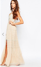 Frock and Frill Embellished Plunge Neck Maxi Dress With Open Back in Nude UK8/36