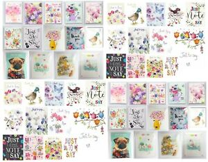 Noel Tatt Just To Say / Thank You Cards 4 Pack Blank Cards - 75+ Designs