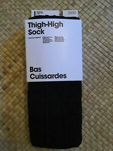 American Apparel Thigh High Socks Black Cable Knit New in Package