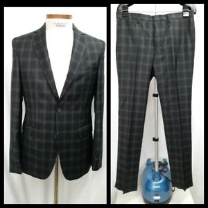NWT VERSACE COLLECTION Black Plaid Wool 2Btn Flat Front Suit EU 48 US 38