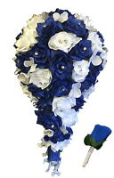 Horizon Royal Blue and White Cascade Artificial Bouquet and Boutonniere 2pc Set