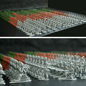300pcs Gift Mini Military Figures 12 Poses Kids Toy Army Men Home 3 Flags Models