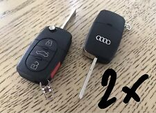 2x AUDI A4 A6 A8 TT Key Fob REMOTE Entry Shell With LOGO & PANIC