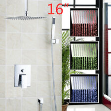 "16"" Brass LED Ultra-slim Rainfall Shower Head Faucets Set Bathroom Wall Mounted"