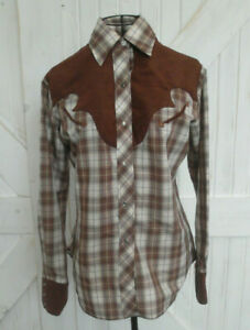 Vintage Miss Rodeo America Brown White Plaid Cowgirl Western Top Blouse Shirt