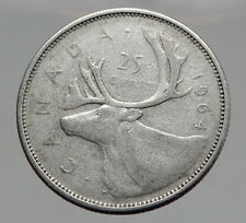 1964 CANADA United Kingdom Queen Elizabeth II Silver 25 Cent Coin CARIBOU i62917