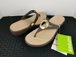 New Womens Crocs Sanrah Beveled Embelished Sandals Brown Tan Gold size 7