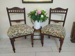 Pair Original Antique Mahogany Chairs Dining Salon Bedroom Slipper