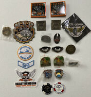 LOT VARIOUS MOTORCYCLE PATCHES AND PINS. STONE MOUNTAIN AND OTHERS.