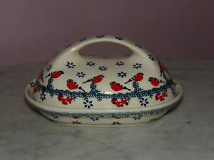 Polish Pottery Fancy Butter Dish! Cardinal Serenade Pattern!